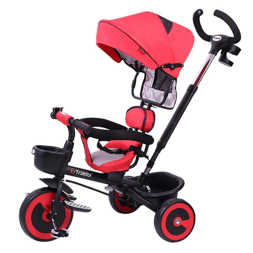 disfruta ahorrando 30-50% de descuento rojo Moolo Triciclo para niños, 1-6 1-6 1-6 años de Edad, Bicicleta de Mano, Cochecito de bebé, con 3 Ruedas, Jinete, toldo, toldo, portátil, Primer Paseo  bienvenido a comprar