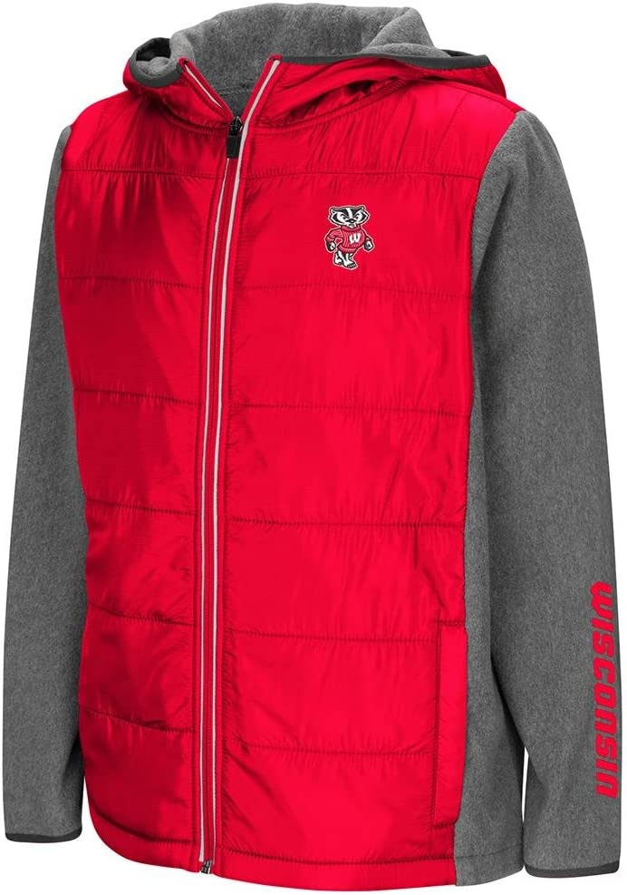 Colosseum Youth Wisconsin Badgers Full Zip Puff Jacket