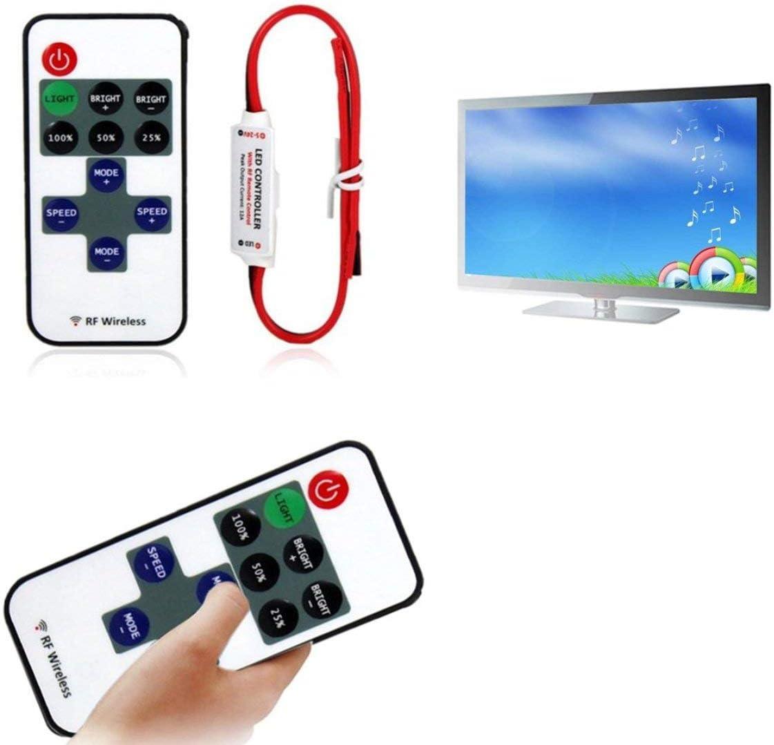 Blanco y negro 12V RF LED Strip Light Mini regulador de interruptor inal/ámbrico Dimmer con control remoto Mini controlador de luz LED en l/ínea//Dimmer
