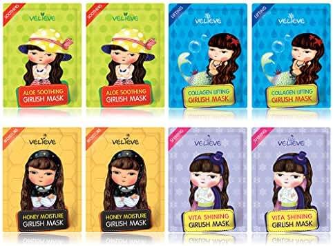 [VELIEVE] Girlish Facial Sheet Mask 20ml Pack of 8 - Honey, Vitamin, Collagen, Aloe Moisturizing Essence Mask Sheet for Dry to Sensitive Skin, Korean Facial Skin Care