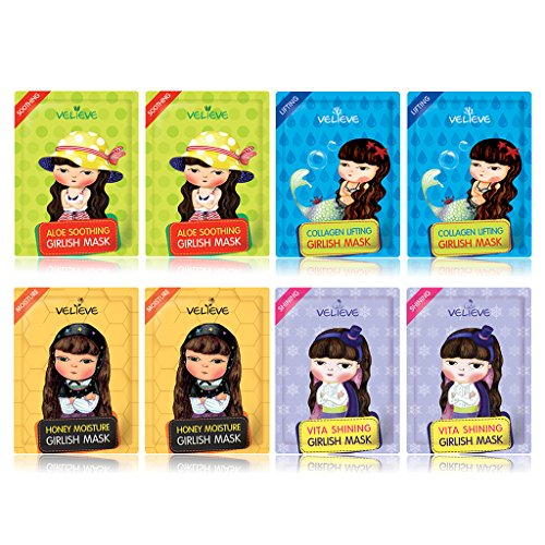 Girlish Facial Sheet Mask 20ml Pack of 8 - Honey, Vita, Col