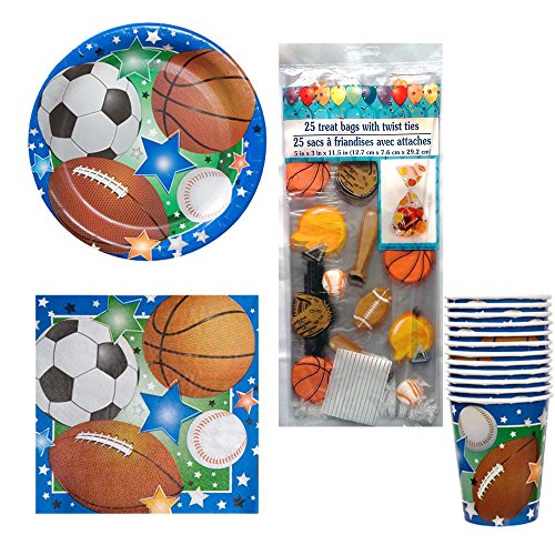 02 Sports Theme Birthday or Team Party Kit Party Pack Supplies for 12 - Football, Baseball, Soccer, & Basketball, plates, napkins, cups, cello treat (Baseball Cello Pack)