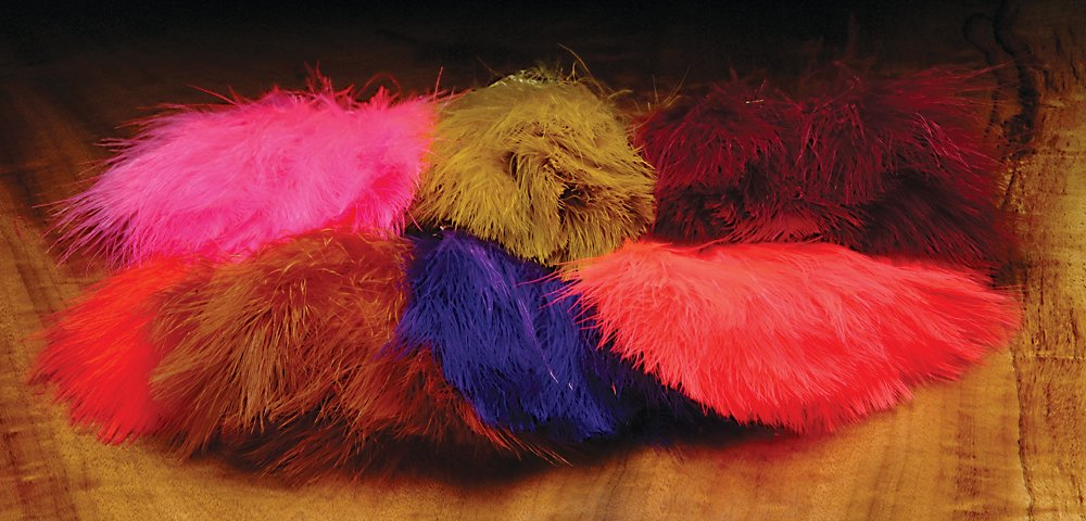 Marabou Strung Blood Quills One Pound Package-Fluorescent Flame by Hareline