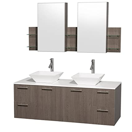 Wyndham Collection Amare 60 Inch Double Bathroom Vanity In Grey Oak