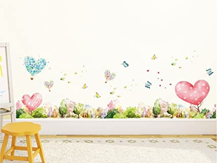 Amazon Brand - Solimo Wall Sticker for Home (Happy Hearts, Ideal Size on Wall, 137 cm X 56 cm)