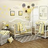 4 Piece Baby Girls Yellow White Grey Flower Crib Bedding Set, Newborn Floral Themed Nursery Bed Set Infant Child Bold Border Traditional Contemporary Sunshine Zigzag Blanket Quilt, Cotton
