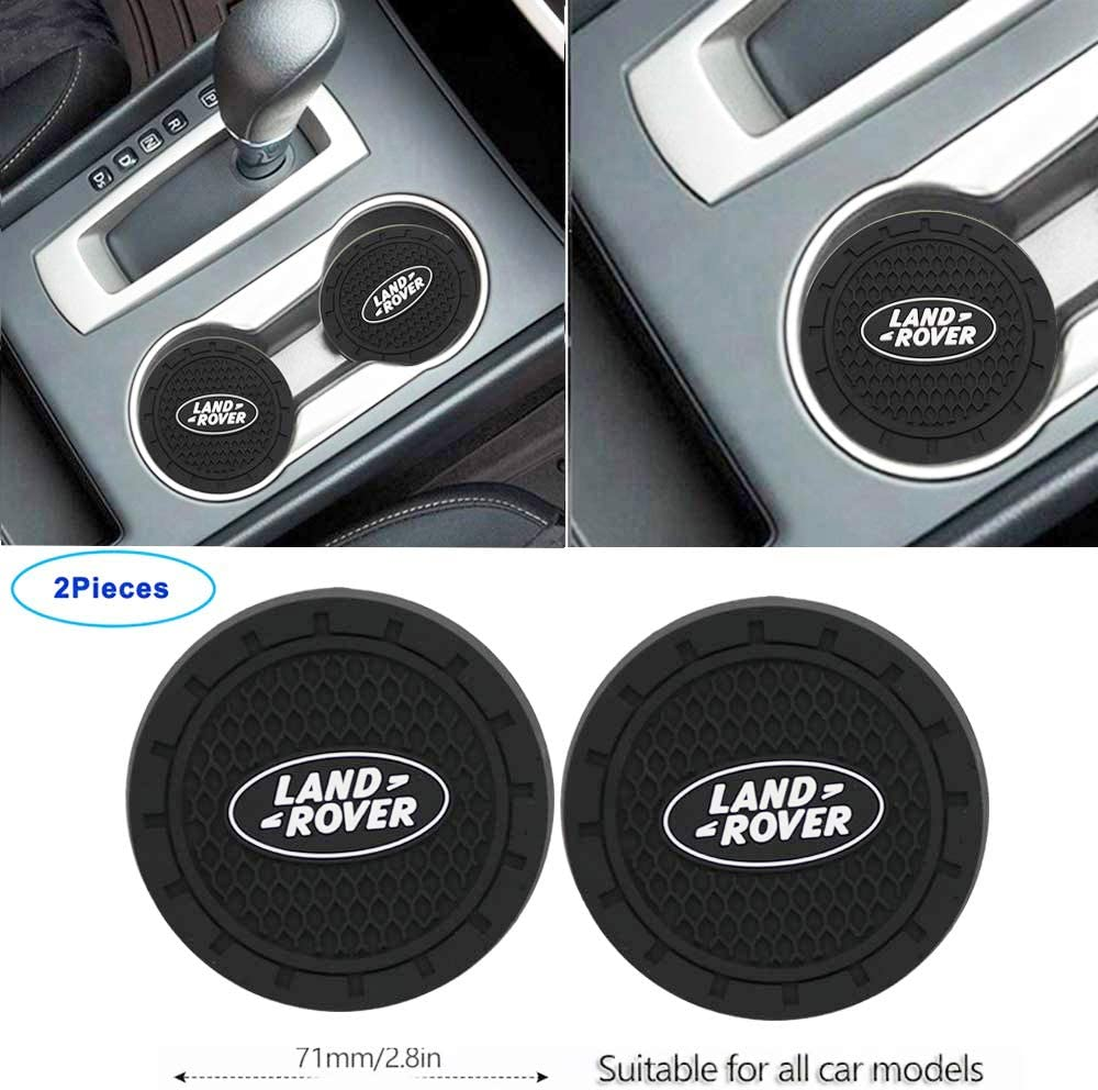 Luckily-2.8 Inch Diameter Oval Tough Car Logo Vehicle Travel Auto Cup Holder Insert Coaster Can 2 Pcs Pack for Land Rover Accessories (for Land Rover)