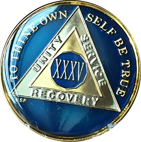 35 Year Midnight Blue AA Alcoholics Anonymous Medallion Chip Tri Plate Gold & Nickel Plated XXXV (What Is The 35 Year Anniversary Gift)