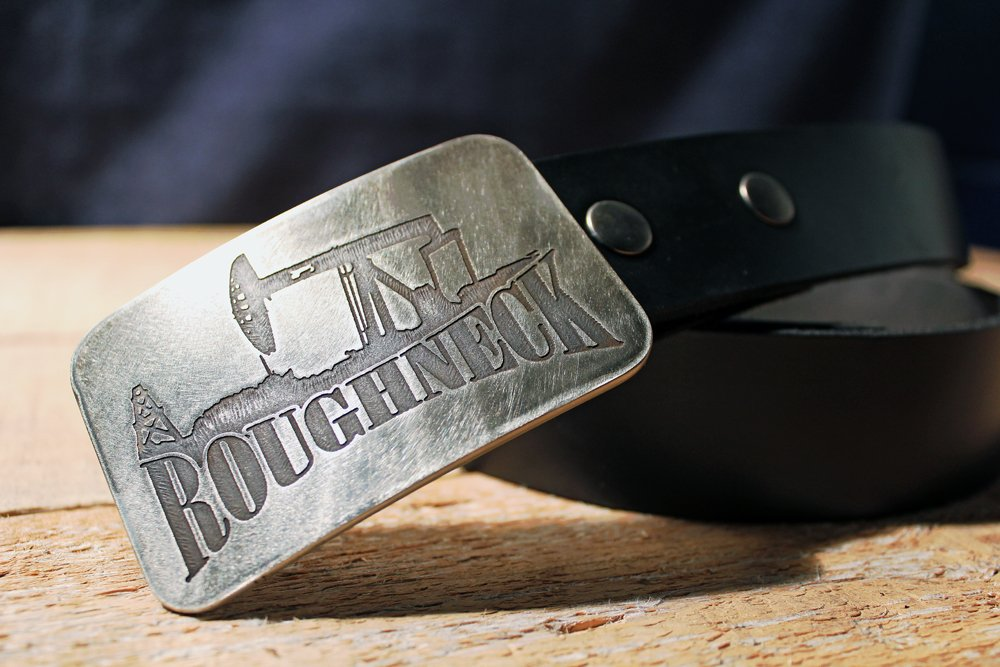 Roughneck - Etched Metal Belt Buckle
