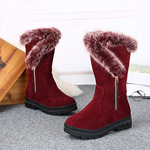 Kvinners Vinterstøvler, Egmy Mote Damer Kvinners Støvler Flat Vinter Varm Snø Sko Røde