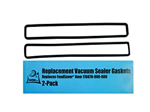 FoodSaver Replacement Gaskets (2 Foam Gaskets) - Fits FM2000, FM2010, FM2100, GM2050, GM2150 Series Vacuum Sealers (Replaces FoodSaver Item 176870-000-000) by OutOfAir