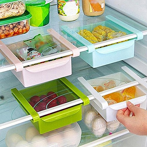 Convenient Kitchen Fridge Freezer Space Saver Organizer Storage Rack Holder Slide Drawer - Freezer Fridge Slide