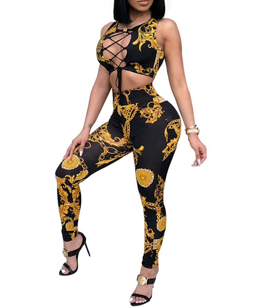 Two Piece Outfits Rompers Sexy Club Outfits Crop Tops High Waisted Pants Rompers Tracksuit Clubwear Black M