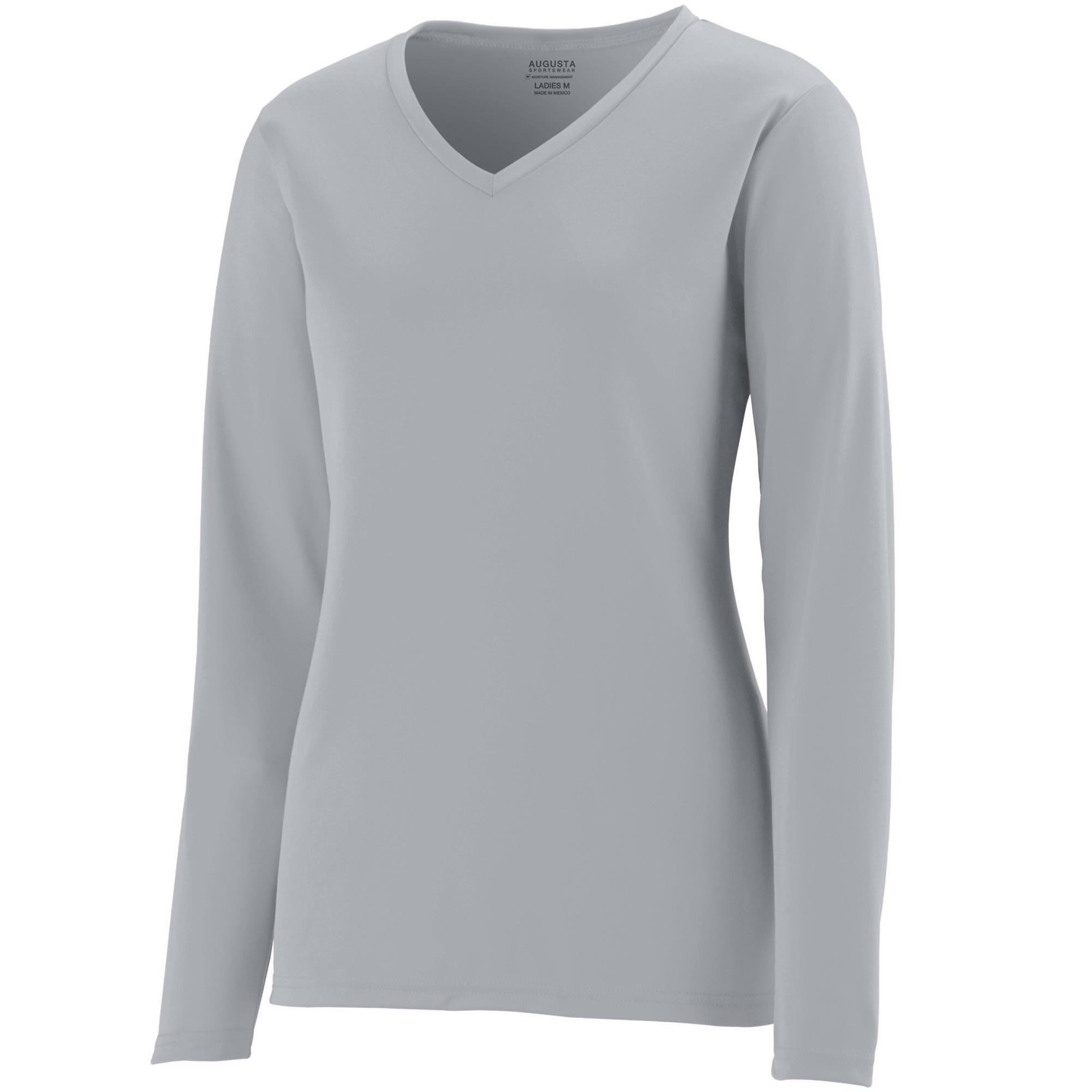 Augusta Sportswear Womens Long Sleeve Wicking T-Shirt, Silver Grey, 3X-Large