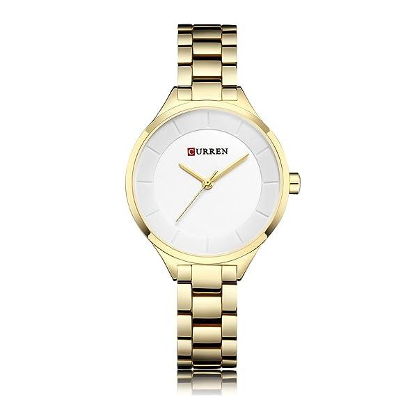 MOZISEN Relojes de Vestir Relojes de Pulsera de Oro Rosa para Mujer Relojes de Pulsera de