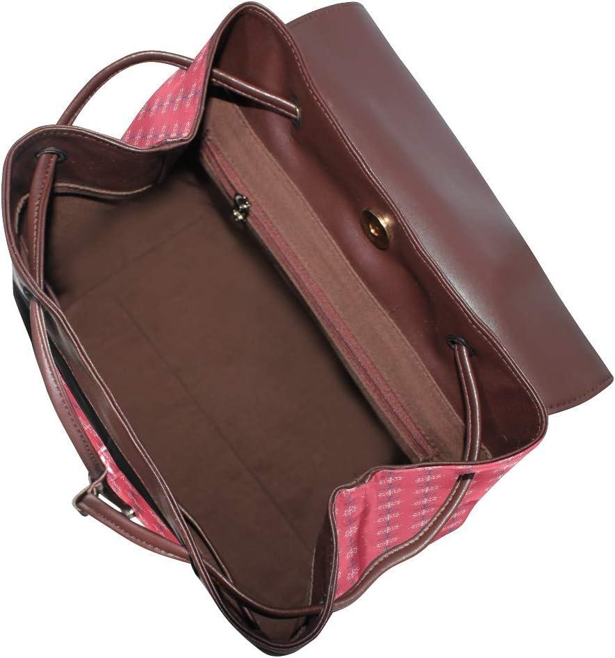 Leather Nautical Anchor Ship Shaft Red Backpack Daypack Elegant Ladies Travel Bag Women Men