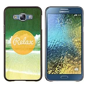 KLONGSHOP // Cubierta de piel con cierre a presión Shell trasero duro de goma Protección Caso - Relax Beach - Samsung Galaxy E7 E700 //