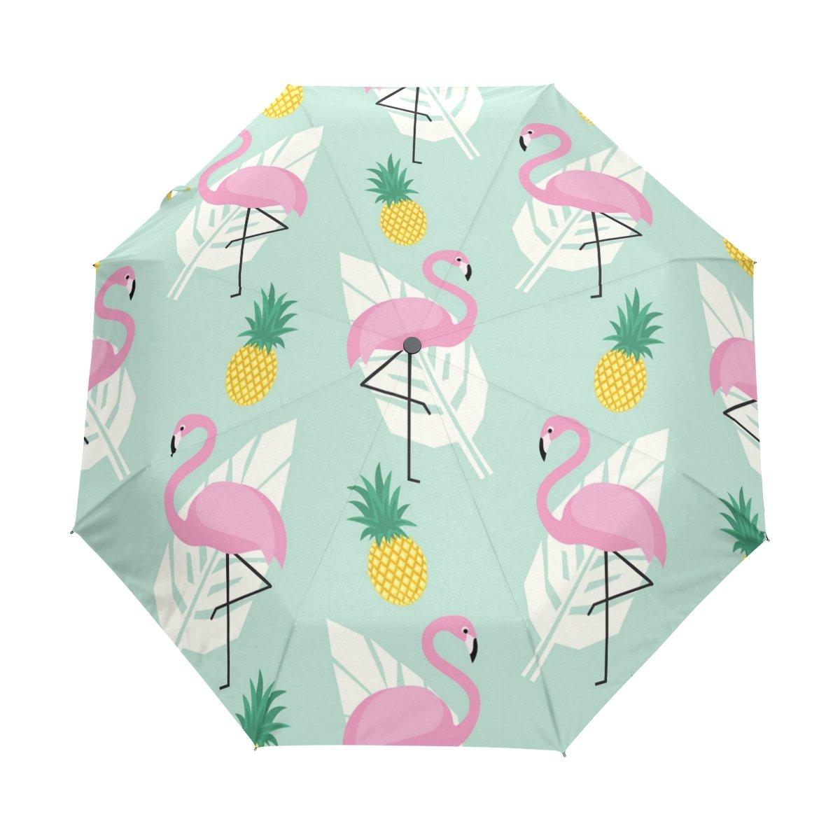 Senya Saobao防風と防雨トラベル傘自動開いて閉じパイナップル折りたたみピンクフラミンゴとヤシの葉ポータブル折りたたみ式太陽雨傘 B07FDVR1GV