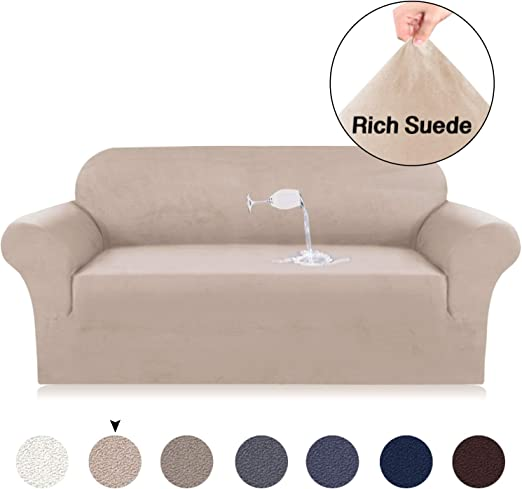 Velvet Plush Sofa Slipcovers for 3 Seater Sofa Cover Suede Couch Slipcover  High Stretch Suede Cover for Living Room Khaki Suede Spandex Slipcover Slip  ...