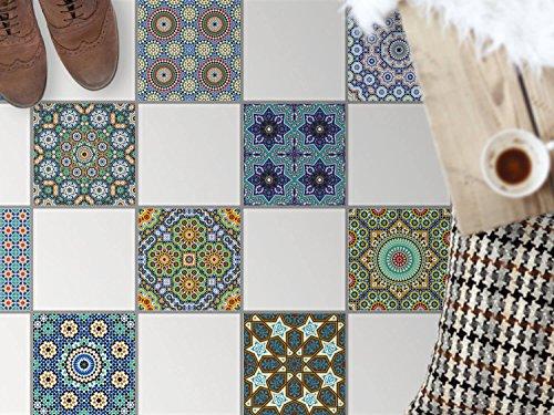 Bad-Bodenfolie, Küchenfliesen   Bodenfliesen Sticker Aufkleber Folie Bad Küche ergänzend zu Kühlschrankmagnet Baddeko   30x30 cm Muster Ornament Orientalisches Mosaik - 9 Stück