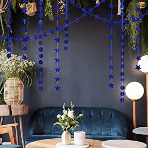 Reflective Blue Star Garlands Streamer/Bunting/Backdrop Party Decoration Stars Hanging Decor for Frozen Birthday/Blue Silver Wedding/Engagement/Royal Baby Shower/Kids Room/Home Decorations