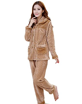a24fe956e15c Women Winter Thick Nightgown Flannel Pajamas Warm Homewear Long Sleeve  Sleepwear (M)