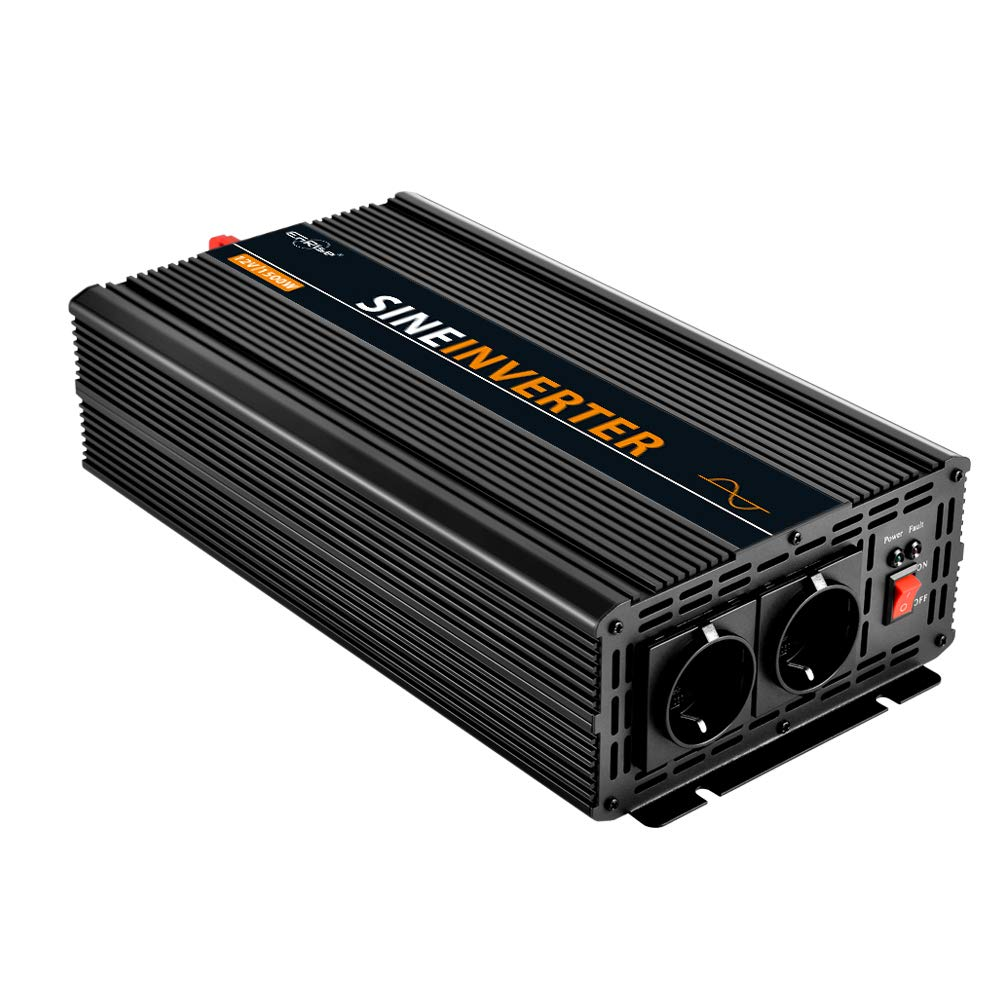EnRise Inversor de Corriente 1500W Pico 3000W Convertidor de Voltaje de 12V a 220V 230V Onda Sinusoidal Pura