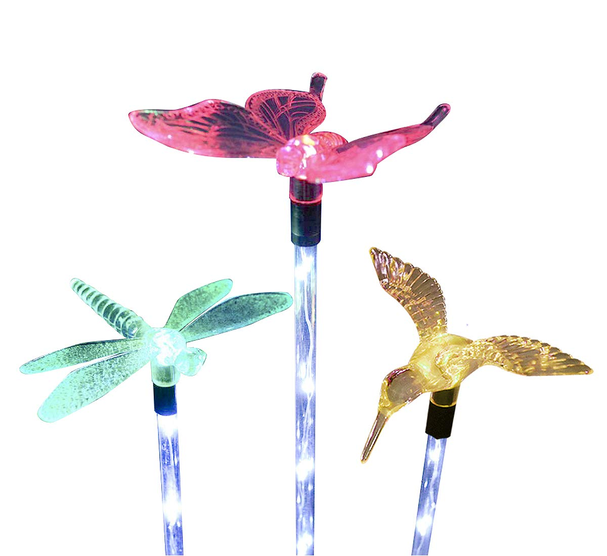 Garden Lights ,Solarmks Garden Solar Lights Outdoor Multi-color Changing LED Hummingbird, Dragonfly, Butterfly Lights ,with a White LED Light Stake for Garden Decorations