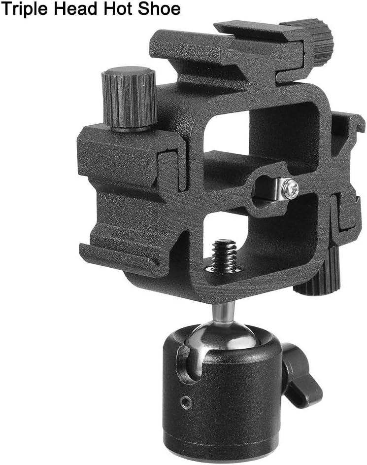 uxcell Triple Head Hot Shoe Mount Adapter Flash Light Stand Ball Head Holder Set