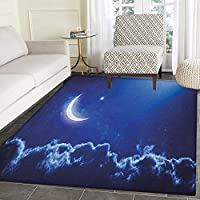 Night Area Silky Smooth Rugs Crescent Moon in Dark Blue Sky with Vibrant Stars Celestial View Midnight Image Floor Mat Pattern 2x3 Royal Blue White