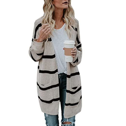 e3086402ccad67 Sunward Women's Fashion Casual Long Sleeve Open Front Cable Knit Texture Cardigan  Sweater, (Beige