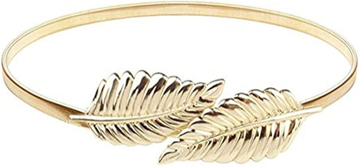 SONGLIIN Women Waist Chain Leaf Shape Metal Interlocked Buckle Elastic Decorative Waist Belt,Gold