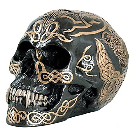 7 inch black and gold color celtic pattern skull statue figurine