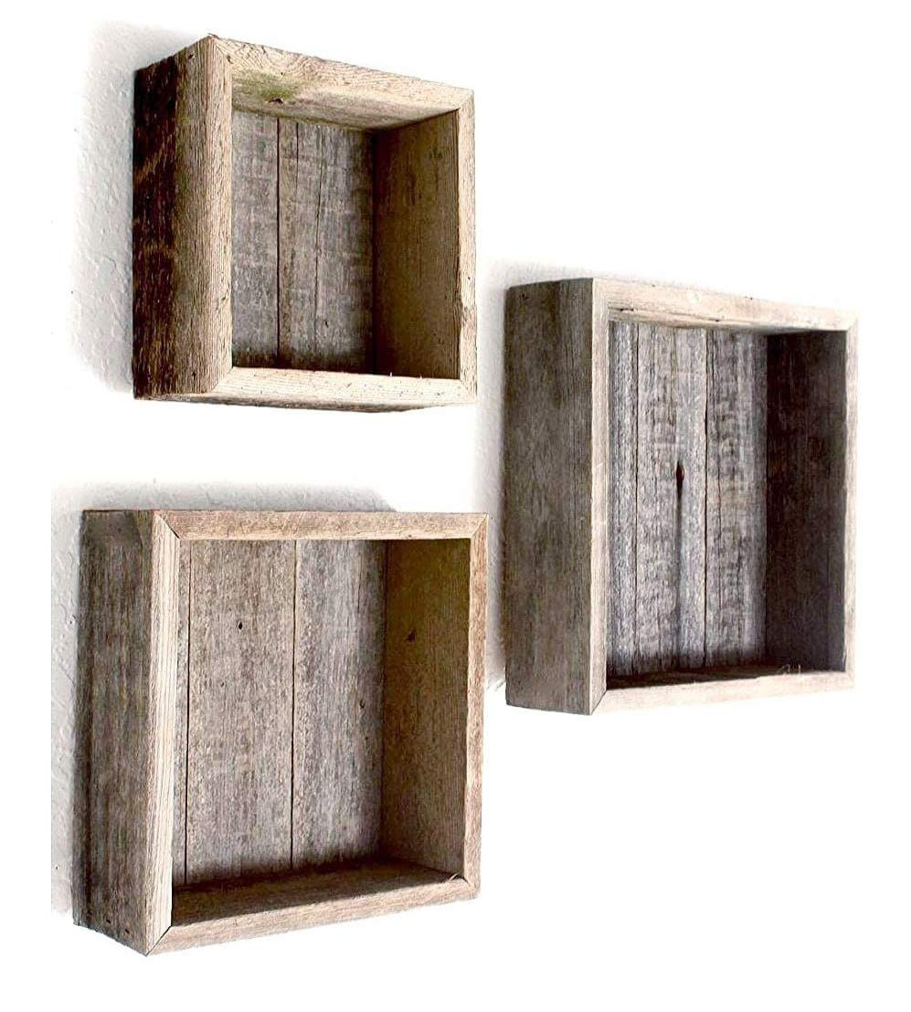 Reclaimed Wood Shadow Box with Wood Backing - Rustic Farmhouse Barn Wood Style - Floating Shelves - Set of 3 Weathered Gray Farm House Box Frames Rockin' Wood