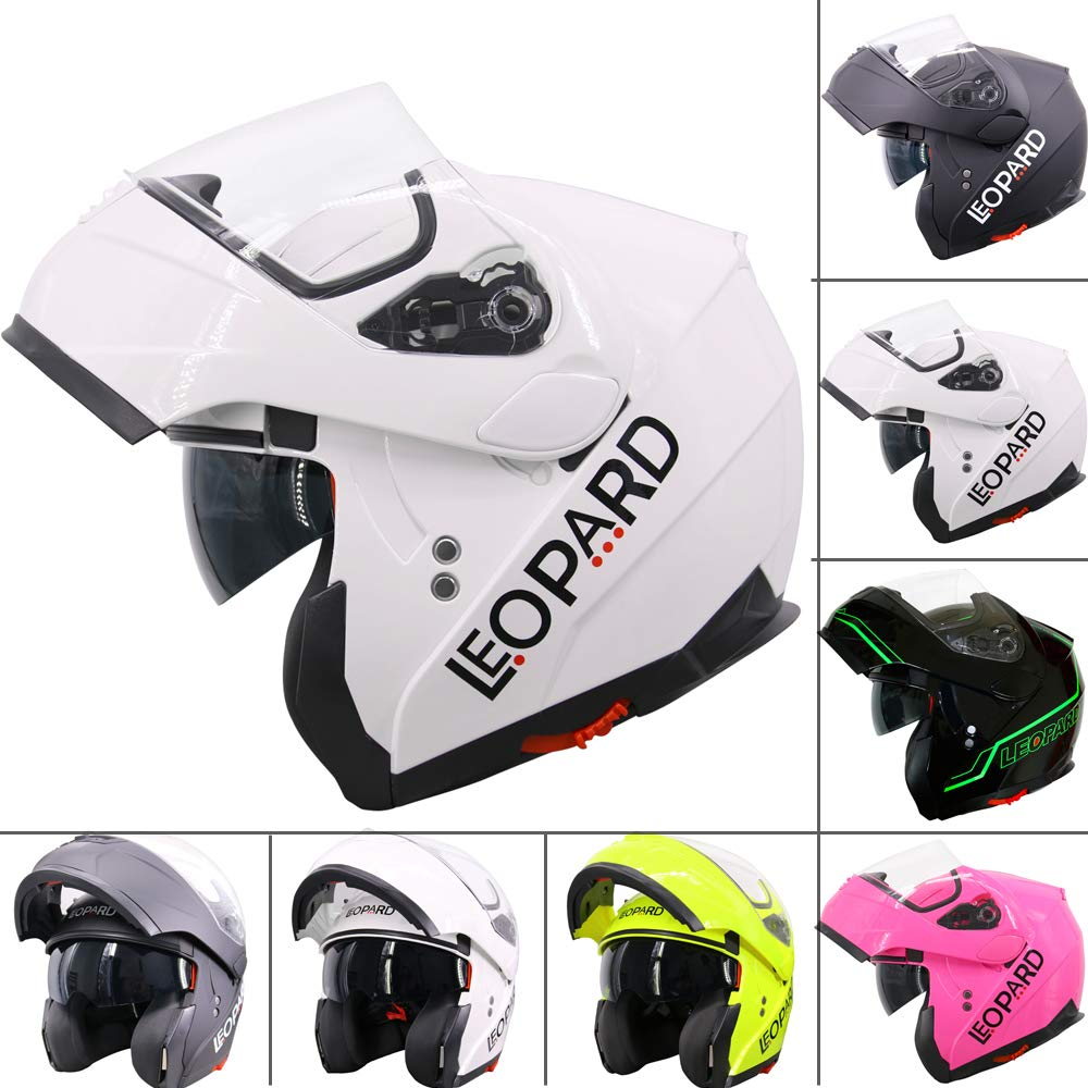 Leopard LEO-717 ECE Approved Flip up Motorcycle Motorbike Helmet White XS 53-54cm