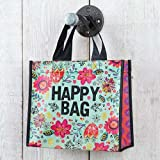 Set of 3 of Recycled Bags - Turquoise ''Happy Bag'' Medium