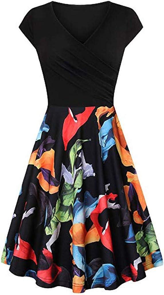 2019 Vintage Printed Women Maxi Dress Short Sleeve Cross V Neck Slim Fit Dresses Flared A-Line Dance Dress Nmch