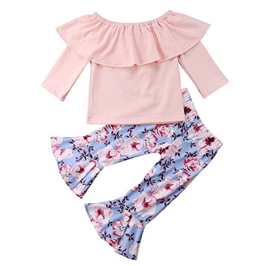 bb1fdcb2d7c Newborn Baby Girls Lotus Leaf Top Shirt Blouse + Boho Floral Bell Bottom  Flare Leggings Trousers