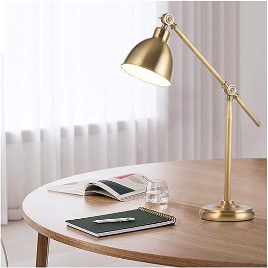 Lámpara de escritorio Oficina Cuidado de ojos Estudio Luces de lectura Lámparas de mesa LED para adultos Diseños simples Estilo americano Latón: Amazon.es: Iluminación
