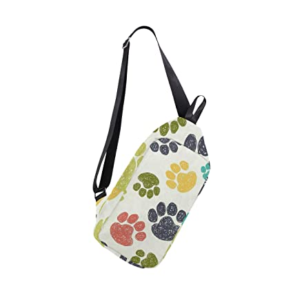 4598bd7976a2 Amazon.com : Lovexue Sling Bag Cute Bear Paw Footprints Womens Chest ...