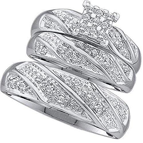 0.30 Carat (ctw) 10K White Gold Round Diamond Men & Women's Cluster Engagement Ring Trio Set 1/3 CT