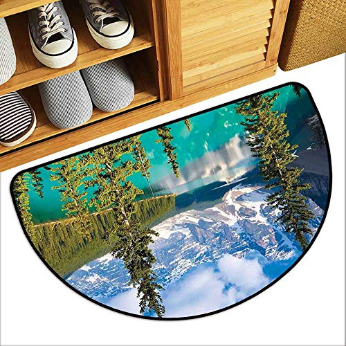 - DILITECK Fashion Door mat Landscape Moraine Lake Rocky Mountains Canada Summer Forest Tall Fresh Trees Image Easy to Clean Carpet W30 xL18 Aqua Blue Green