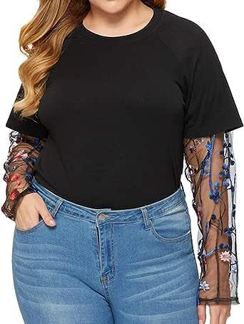 TOPKEAL Camiseta de Manga Corta y Color Liso Cruzado Mallas para Mujer Blusa Gasa con Manga Perspectiva de Talla Grande: Amazon.es: Ropa y accesorios