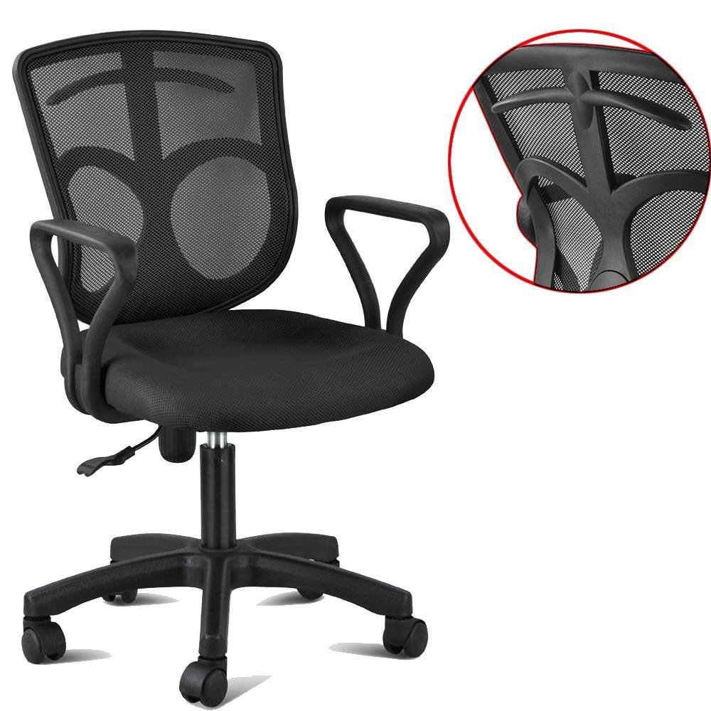 Topeakmart Swivel Office Desk Chair Adjustable Office Mesh Seat Chair with Clothes Hanger Black