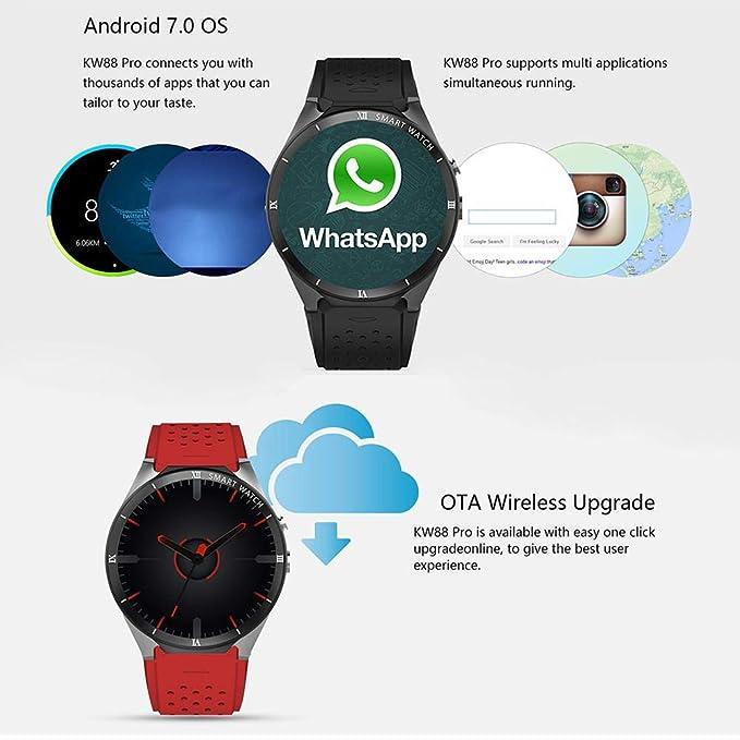 Leo565Tom - Reloj Inteligente con Bluetooth para Android 7.0 1.3 GHz Quad-Core 16 GB WiFi GPS 2 MP cámara de frecuencia cardíaca Monitor de Fitness 3G Smart ...