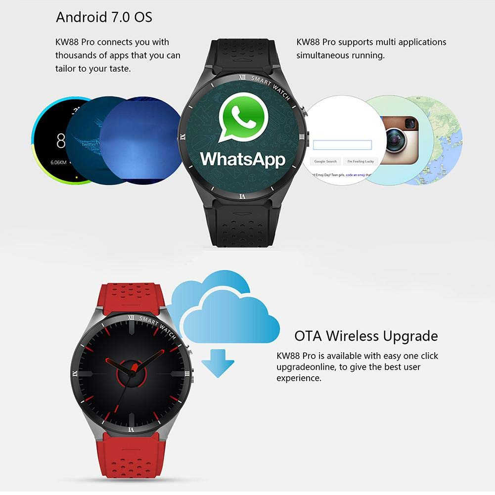 Smart Watch, kingwear kw88 Pro 3 G Smart Mirando Android 7.0 ...