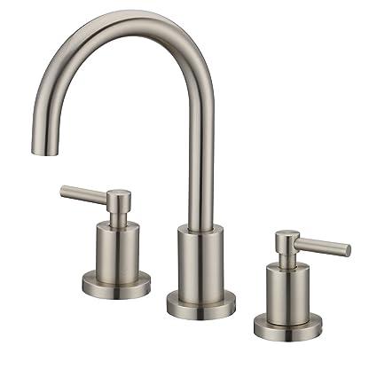 Superb Bathroom Faucet Basin Sink Brass Faucet Fixtures Brushed Nickel 3 Holes Two Handles Deck Mount Mixer Tap Brushed Nickel Download Free Architecture Designs Ferenbritishbridgeorg