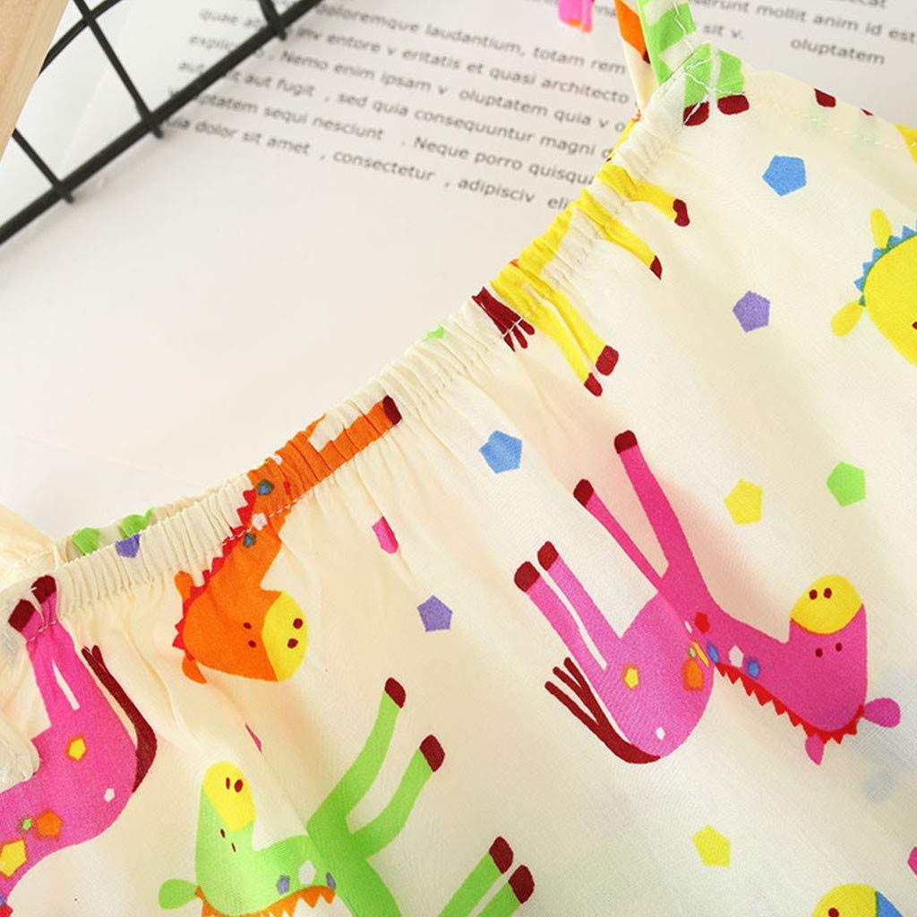 YWLINK Verano Conjuntos Ni/ñA Sin Mangas con Estampado De Frutas Camisola Manga Corta Camiseta+Pantalones Cortos+Sombrero De Paja Conjunto De 3 Piezas Fiesta De Cumplea/ñOs Vestido