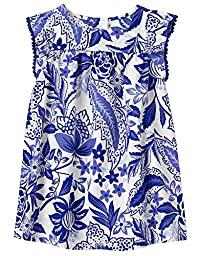 Crazy 8 Baby Toddler Girls\' Wvn Floral Ruffle Sleeve Dress, Pacific Surf, 18-24 Months