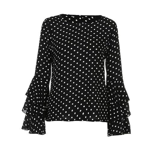 0086488bb6541c Aurorax Fashion Women s Bell Sleeve Loose Polka Dot Shirt Ladies Casual  Blouse Tops (2L